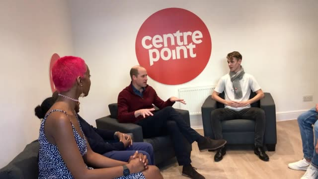 the duke of cambridge meets with residents of a leading youth homeless charity on its the 50th anniversary william will officially open centrepoint's... - arts culture and entertainment stock videos & royalty-free footage