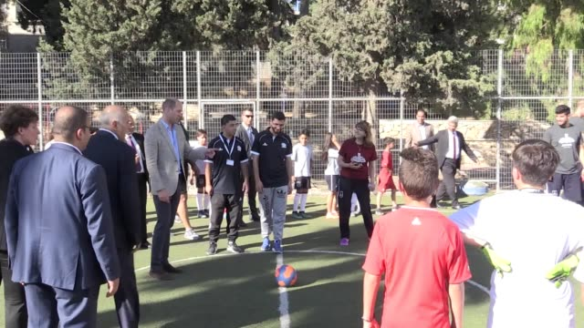 The Duke of Cambridge played football with Palestinian children during a cultural trip to Ramallah the designated capital of the Occupied Palestinian...