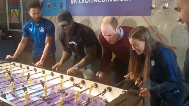 the duke of cambridge plays a game of table football at the launch of the heads up weekends at paddington's heist bank, london. the 'heads up'... - royalty stock videos & royalty-free footage