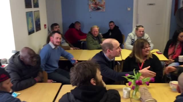 the duke of cambridge visits the beacon project homeless shelter in mansfield to hear about the struggles of those on the streets who are battling... - discovery stock videos & royalty-free footage