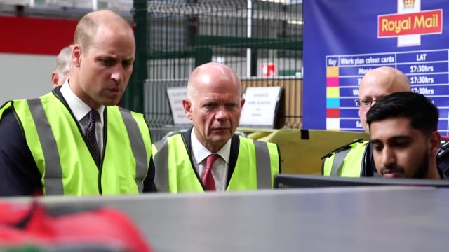 stockvideo's en b-roll-footage met the duke of cambridge visits the royal mail's international logistics centre at heathrow to see how officers are attempting to stop illegal... - william hague
