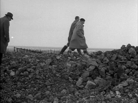 The Duke of Edinburgh inspects the sea defences in Lincolnshire following the terrible flooding 1953