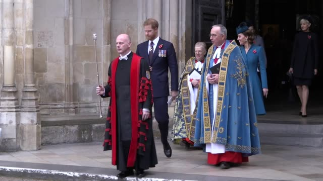 the duke of sussex and duchess of cambridge depart after the anzac day service at westminster abbey. - anzac day stock videos & royalty-free footage