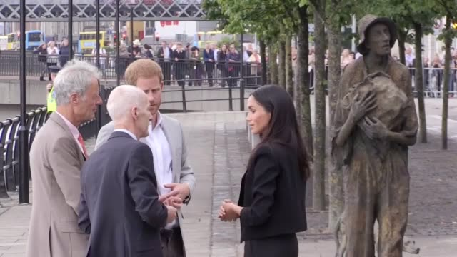 the duke of sussex at the famine memorial on the second day of the royal couple's visit to dublin ireland the sculpture is a commemorative work... - meghan harry stock videos and b-roll footage