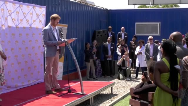 the duke of sussex gives a speech at the youth employment services johannesburg south africa during harry and meghan's final day of their tour of... - meghan harry stock videos and b-roll footage