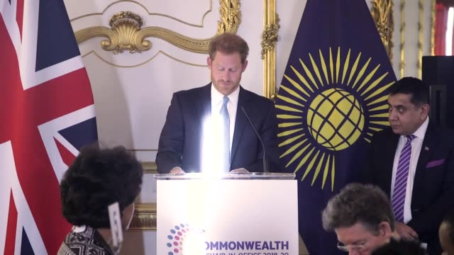 the duke of sussex in his role of commonwealth youth ambassador meets young people from across the commonwealth at a roundtable discussion at... - british empire stock videos & royalty-free footage