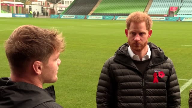 the duke of sussex joins exwales rugby international gareth thomas at harlequins rugby club for an event that aims to encourage people to get tested... - gareth thomas rugby player stock videos & royalty-free footage