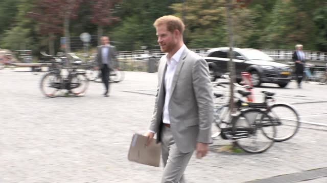 the duke of sussex on september 3, 2019 in amsterdam, . - prince harry stock videos & royalty-free footage