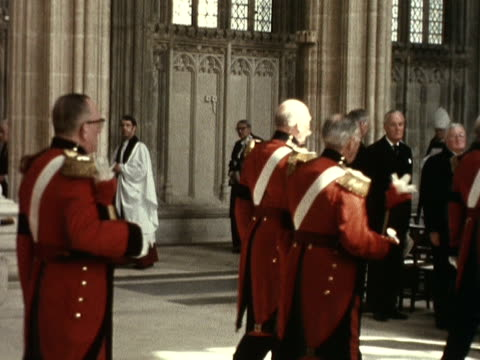 the duke of windsor's funeral procession moves the nave of st george's chapel at windsor castle - st. george's chapel stock videos & royalty-free footage
