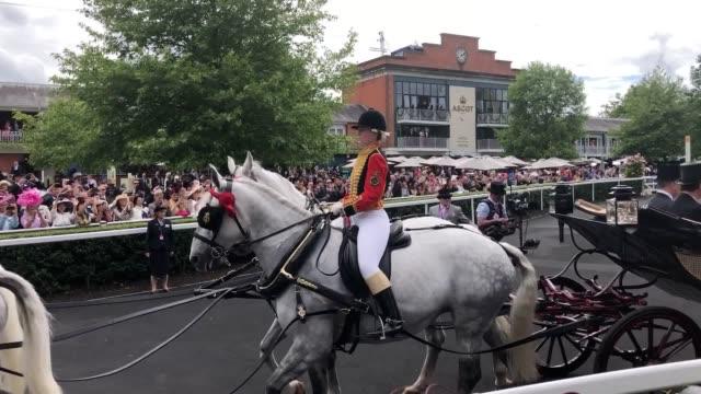 the duke of york, vice admiral sir tim laurence, queen elizabeth ii and the princess royal during the royal procession during day three of royal... - ロイヤルアスコット点の映像素材/bロール