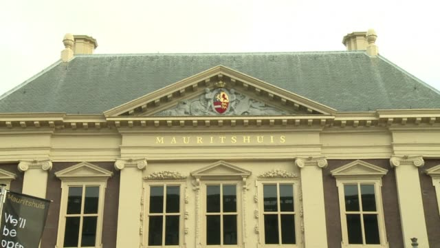 the dutch mauritshuis museum historic home of vermeers girl with the pearl earring and a treasure trove of other golden age masterpieces reopens next... - perlenohrringe stock-videos und b-roll-filmmaterial