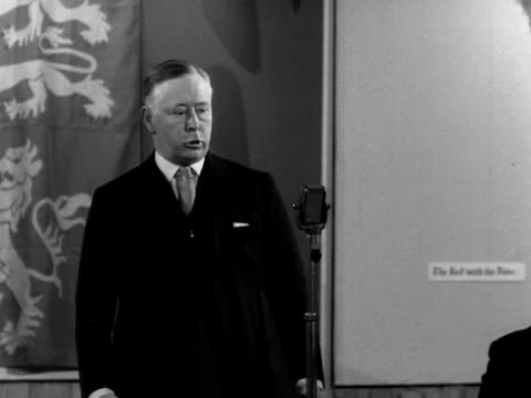 the earl marshall the duke of york gives a press conference to journalists regarding some of the plans and procedures for the coronation of elizabeth... - 1953 stock videos and b-roll footage