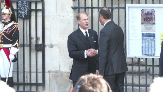 the earl of wessex arrives to attend a church service for former french president jacques chirac at the saint-sulpice church in paris on september... - prince edward, earl of wessex stock videos & royalty-free footage