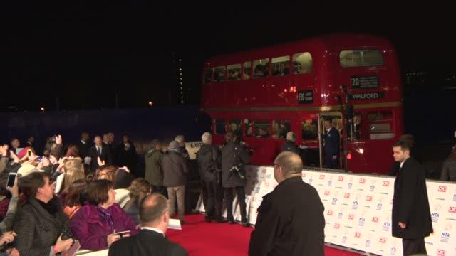 broll the eastenders cast arrive by bus at national television awards at 02 arena on january 22 2014 in london england - television awards stock videos & royalty-free footage