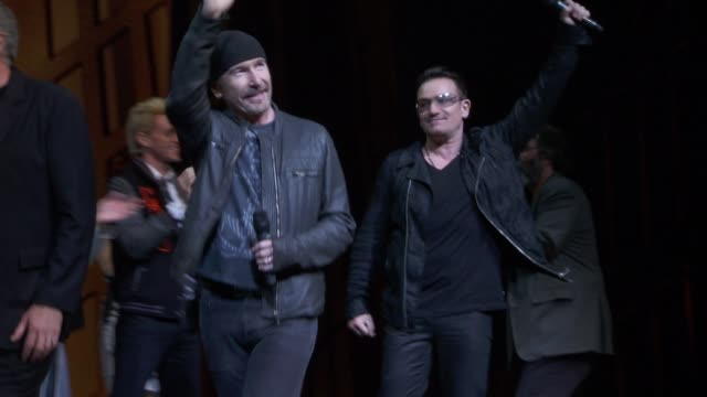 the edge and bono at bono and the edge celebrate the 1000th performance of spiderman turn off the dark on broadway at foxwoods theater on may 29 2013... - david 'the edge' howell evans stock videos and b-roll footage
