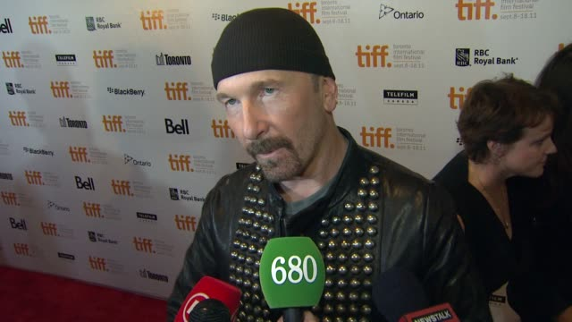 the edge on the film and u2's legacy at the 2011 toronto international film festival 'from the sky down' premiere at toronto on - david 'the edge' howell evans stock videos and b-roll footage
