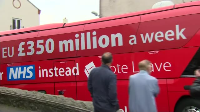 the effect of brexit on eu national staff within the nhs lib / st austell brewery ext vote leave bus along with 'we send the eu 350 million pounds a... - nhs stock videos & royalty-free footage
