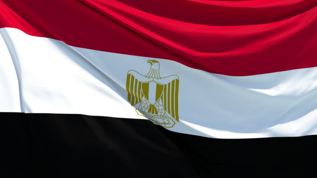 the egyptian flag fluttering in the wind - egypt stock videos & royalty-free footage