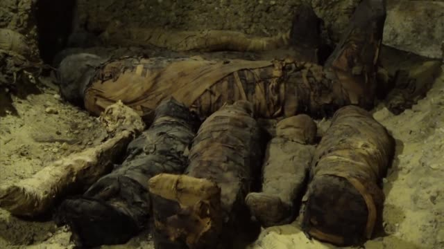 the egyptian minister of antiquities khaled elenany announces the discovery of more than 40 mummies at a burial site in tunah elgebel in egypt's... - hd format stock videos & royalty-free footage