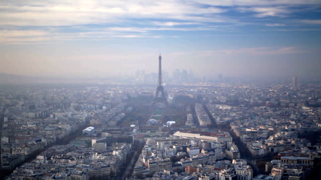 The Eiffel Tower and the city of Paris, France.