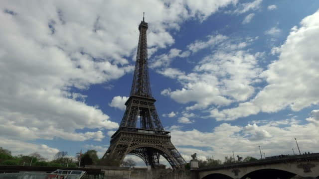 4k the eiffel tower, paris, from river seine - seine river stock videos and b-roll footage