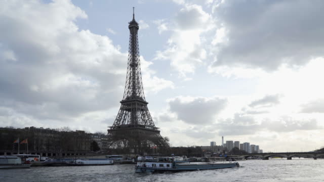 the Eiffel Tower Paris in winter and the River Seine