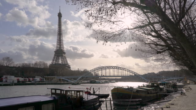 the eiffel tower paris in winter and the river seine - moored stock videos & royalty-free footage