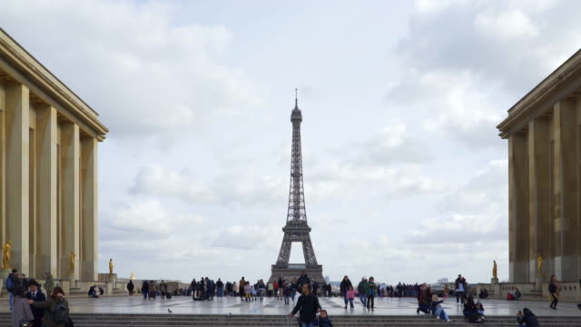 the Eiffel Tower Paris in winter from the Palais de Chaillot.