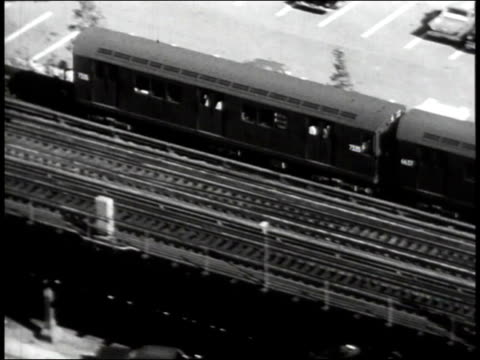 1965 B/W The El traveling down track in South Bronx / New York City, New York, United States