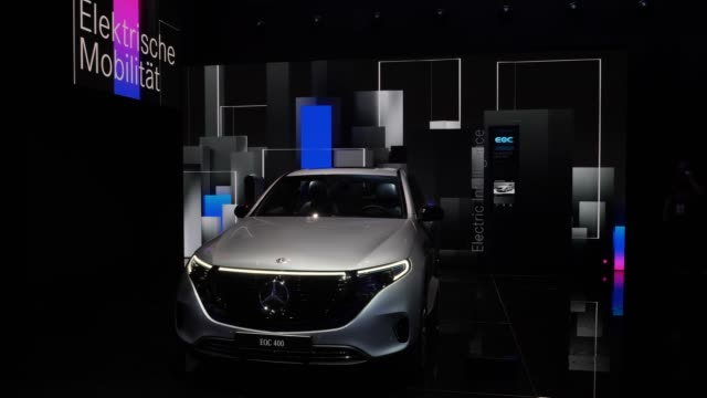 the electric mercedes eqc 400 can be seen at the company's booth at the 2019 iaa frankfurt auto show on september 10, 2019 in frankfurt am main,... - ベンツ点の映像素材/bロール