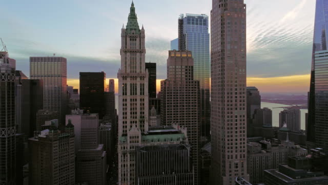 The elevated panoramic twilight view of Manhattan Downtown, New York City. 360-degree-panoramic camera rotation.
