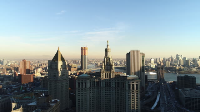 stockvideo's en b-roll-footage met de verhoogde panoramisch uitzicht over manhattan downtown, new york city - wall street lower manhattan