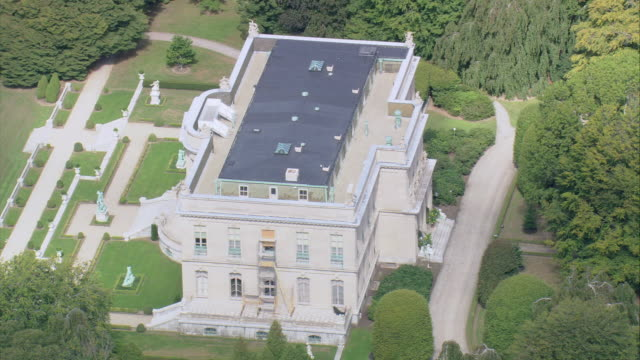 stockvideo's en b-roll-footage met aerial the elms mansion including surrounding neighborhood and newport harbor / newport, rhode island, united states - 1890 1899