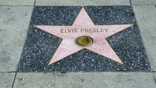 stockvideo's en b-roll-footage met the elvis presley star at the walk of fame in hollywood - hollywood walk of fame