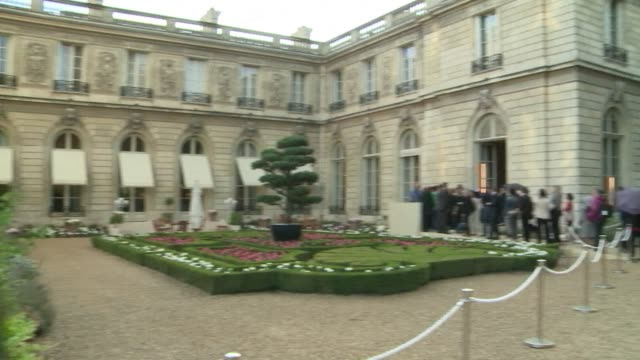 the elysee palace official residence of the french president opened its doors to the public on saturday giving people a rare opportunity to look... - french doors stock videos and b-roll footage