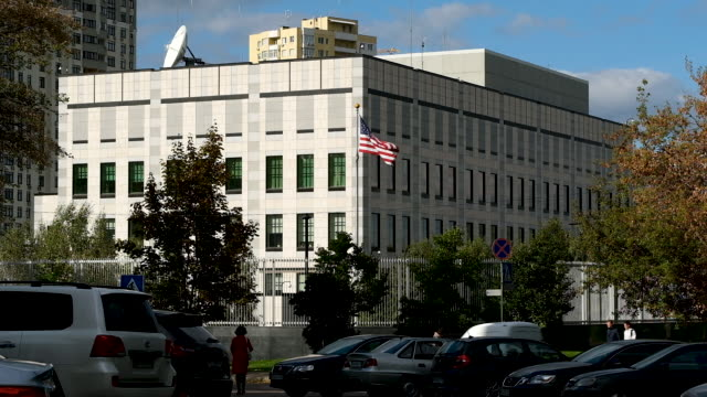 the embassy of the united states of america stands on october 01 2019 in kiev ukraine ukraine has found itself at the core of a political storm in us... - embassy stock videos and b-roll footage