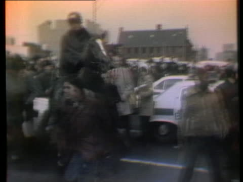 the emergency committee for the national mobilization against racism's pro-busing demonstration turns violent in boston. - human rights or social issues or immigration or employment and labor or protest or riot or lgbtqi rights or women's rights stock videos & royalty-free footage
