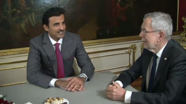 the emir of qatar tamim bin hamad al thani meets austrian president alexander van der bellen as he arrives in vienna - traditionally austrian stock videos & royalty-free footage
