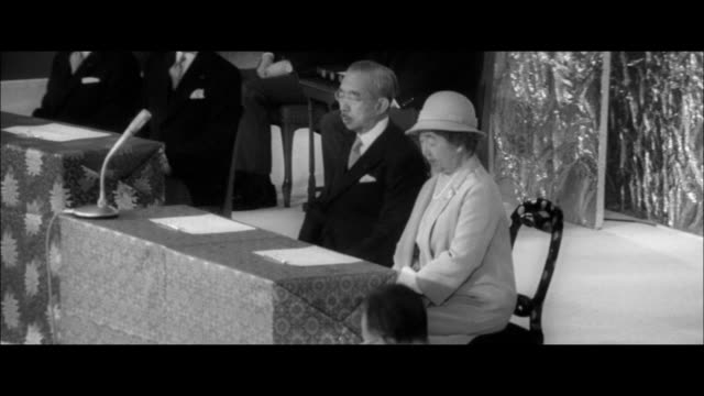 the emperor's 50th anniversary memorial ceremony/prime minister takeo miki giving a congratulatory address /emperor speaking and file footage of the... - 天皇点の映像素材/bロール