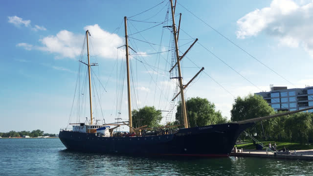 the empire sandy ship provides chartered tours in lake ontario for the public seen on june 30, 2017; in toronto, ontario, canada. the ship was built... - small group of objects stock videos & royalty-free footage