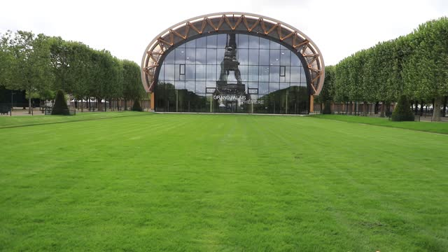 the empty lawn of the champ de mars, in the background the eiffel tower is reflected in the facade of the grand palais ephemere on may 10, 2021 in... - grand palais stock videos & royalty-free footage