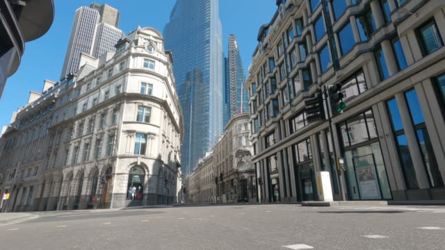 the empty streets of the city of london, heart of the u.k.'s financial district on may 01, 2020 in london, england. the uk remains in full lockdown... - physical activity stock videos & royalty-free footage