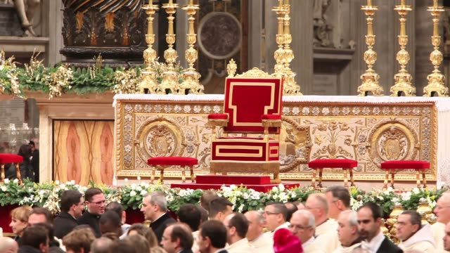 The empty Throne of Pope Francis at Pope Francis Celebrates Christmas Night Mass at St Peter's Basilica on December 24 2013 in Vatican City Vatican