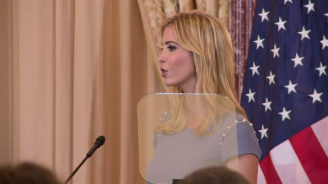 vídeos y material grabado en eventos de stock de the end of ivanka trump's brief remarks at the launch of the 2016 human trafficking report awards she is taller than the teleprompter glass part 2 of... - teleprompter