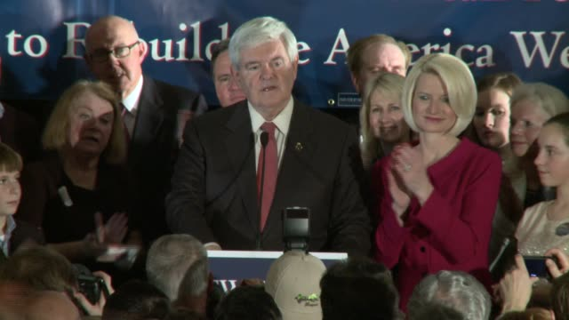 the end of newt gingrich's victory speech says there's a choice and onto florida newt gingrich wins south carolina primary at hilton hotel ballroom... - vorwahl stock-videos und b-roll-filmmaterial