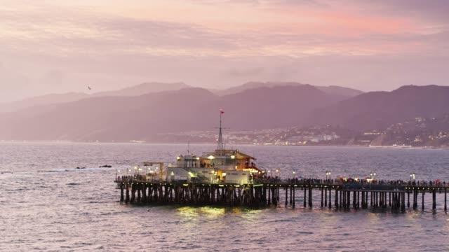 the end of santa monica pier - aerial - santa monica stock videos & royalty-free footage