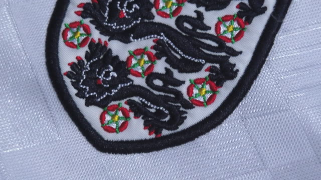 the england crest on their home shirt on may 27 2020 in manchester england - big cat stock videos & royalty-free footage