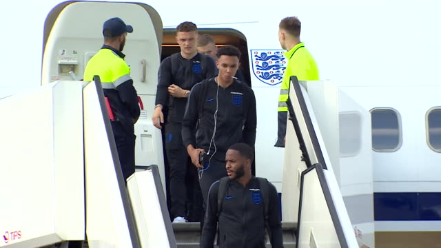 the england football squad arriving in russia before the 2018 world cup - fifa world cup stock videos & royalty-free footage