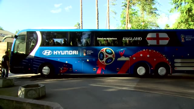 The England national team arriving at their training base in Repino Russia for the World Cup