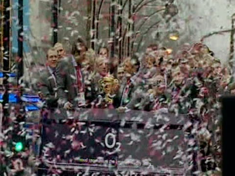 the england rugby team ride in a victory parade through london, following their victory at the rugby world cup. - parade stock videos & royalty-free footage